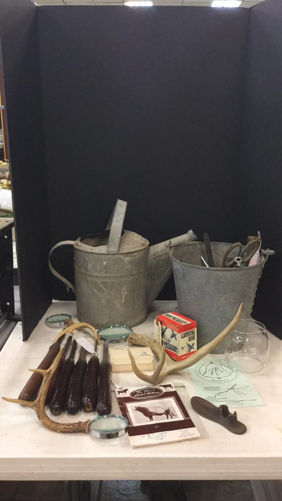 Selection of old vintage tools, metal watering