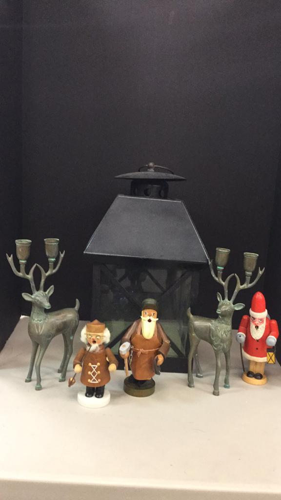 Large metal hanging lantern, Brass deer candle