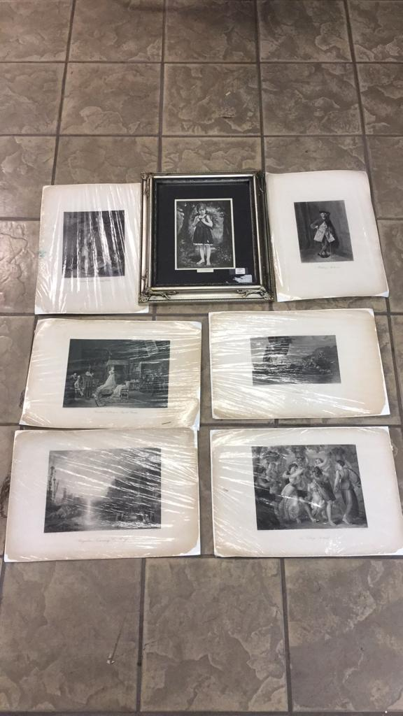 Selection of old steel engravings including one