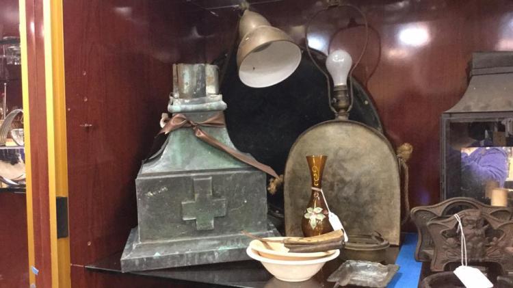 Old metal canteen lamp, metal wall shelf, desk