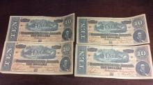 Set of four $10 confederate notes dated 1864