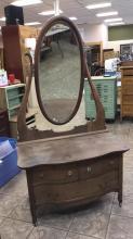 Antique oak vanity with swivel top mirror