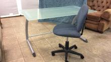 Frosted glass top metal desk with chair