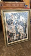 Large Renaissance style framed and matted Art
