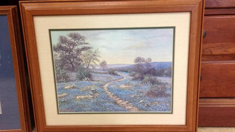 Wr Thrasher Bluebonnet Scene Framed And Matted