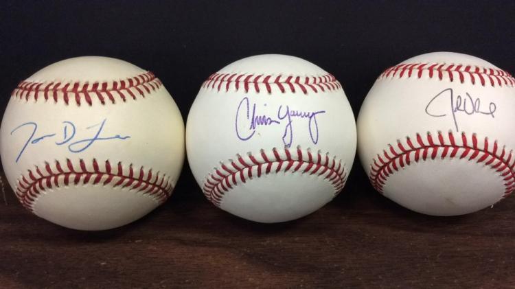Jason Lane, Chris Young, and John Olerud Signed