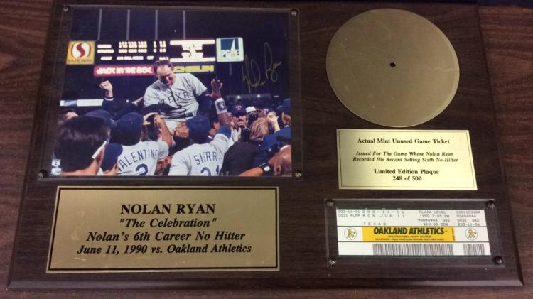 Texas Rangers Nolan Ryan 6th Career No Hitter