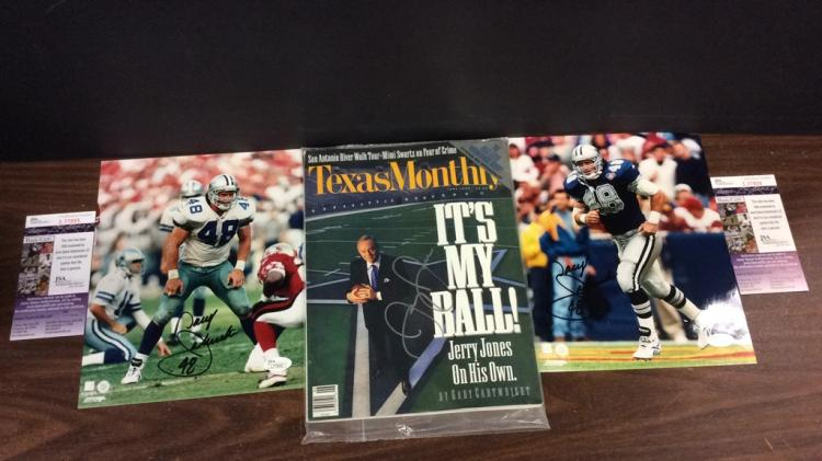 Pair of Dallas Cowboys Daryl Johnston Signed 8