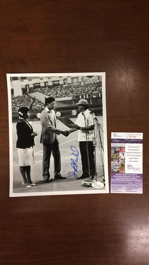 J.R. Richard signed 8x10 black and white photo