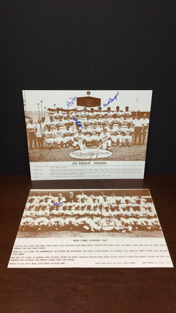LA Dodgers 1965 team photo signed by Carroll