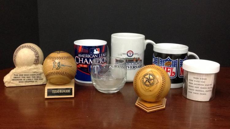 Texas Rangers Rusty Greer signed wood baseball,