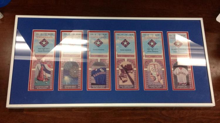 Texas Rangers framed and matted Tickets