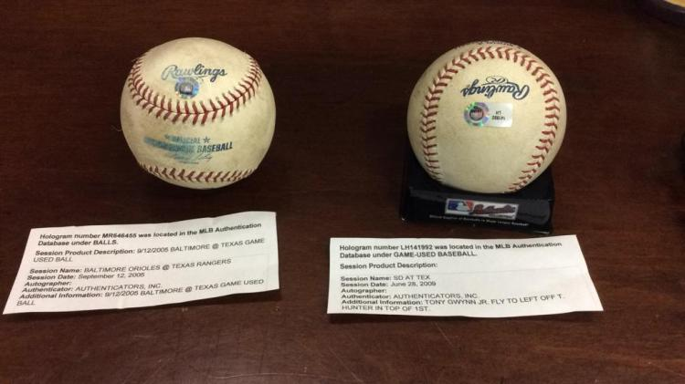 Pair of MLB authenticated game used Rawlings