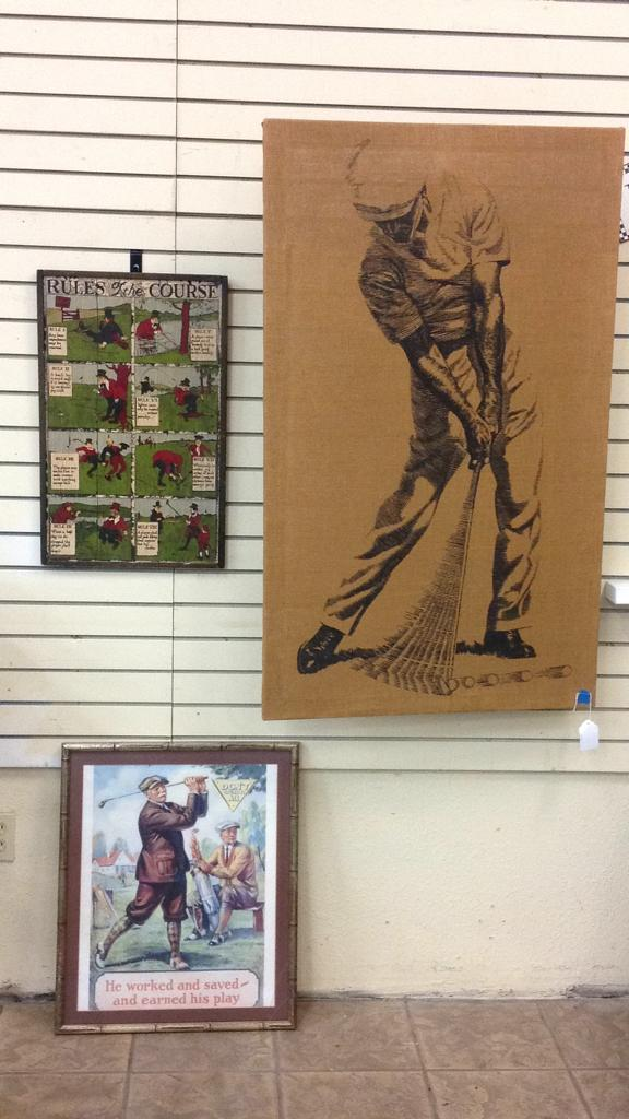 Selection of vintage golf themed wall art-largest