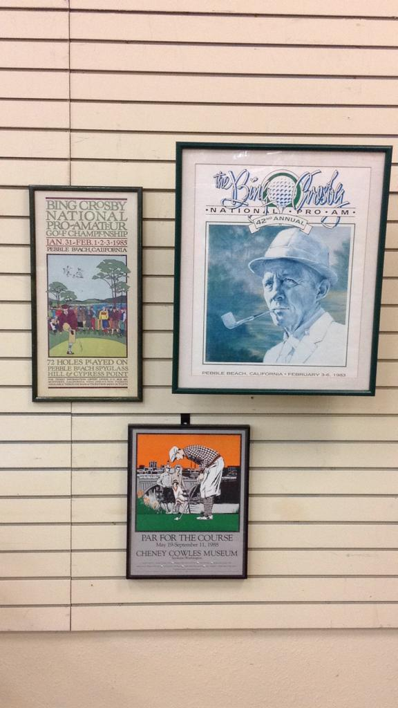 Selection of vintage framed and matted golf
