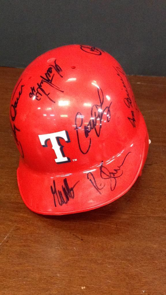 Texas Rangers multi player signed Riddell Mini