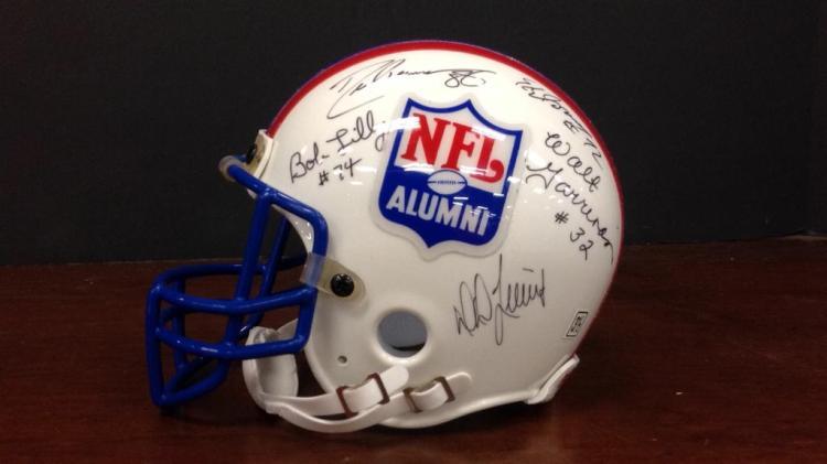 NFL Alumni Pro Legends multi signed Riddell Mini