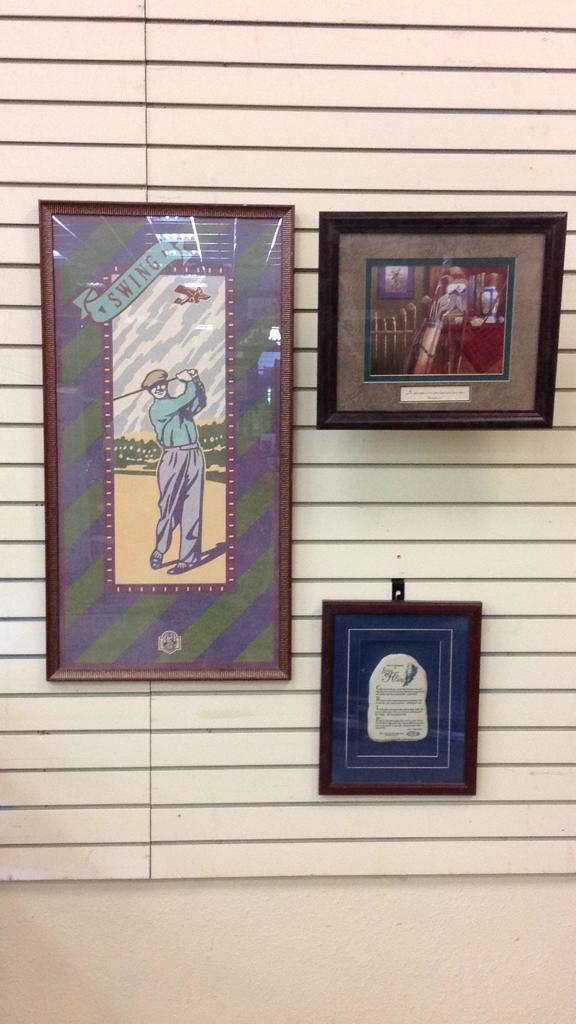 Selection of framed and matted golf themed