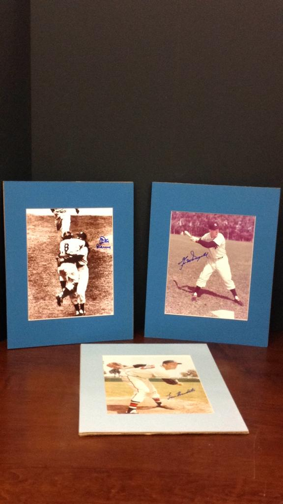 Lou Burdette, and pair of signed 11x14 baseball