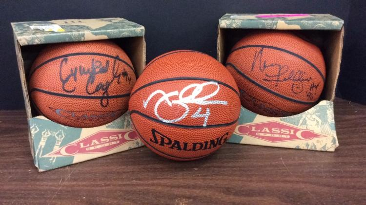 Set of Three Signed Spalding and Classic Sport