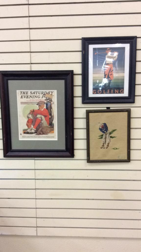 Selection of Framed and Matted Golf Themed Art