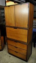 Stanley Mid-Century Walnut Stacking Cabinets