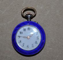 .800 Silver Gullioche Enamel Ladies Pocket Watch