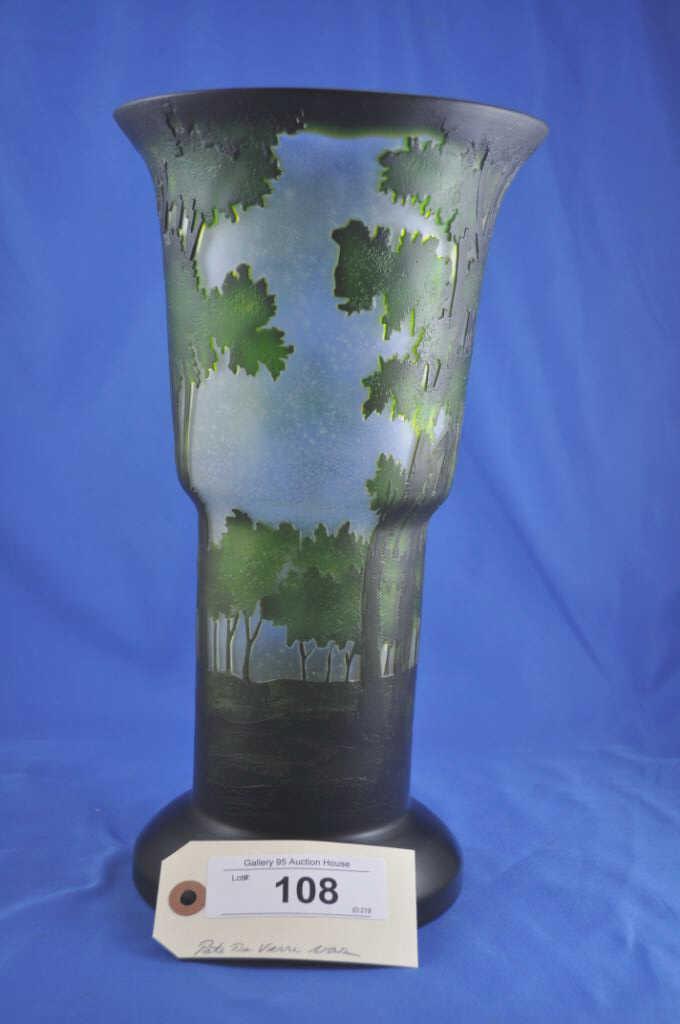 Modern pate de verre vase for Decoration vase en verre