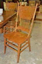 6 Oak Pressed Back Chairs