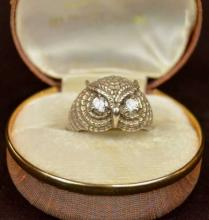 Figural Sterling Owl's Head Ring