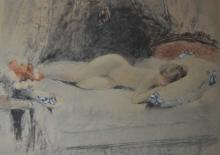Vintage French Nude Stone Lithograph