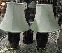 Pair of Ceramic Jar Form Table Lamps