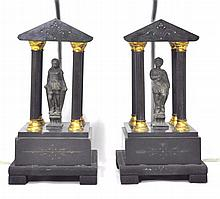 Zeus and Athena Figural Lamps, Pair