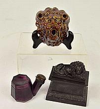 Figural Bennington Glaze Pen Holder & Related