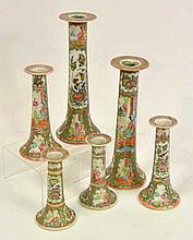 Six Famille Rose Candlesticks