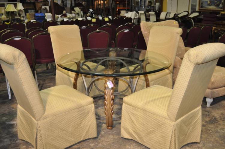 Lot Hollywood Regency Dining Table And Chairs