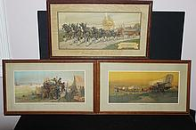3 EXC. FRAMED PRINTS - ALL COPYRIGHT BY AUGUST A & ANHEUSER BUSCH - ORIG. FRAMES & PRINTS