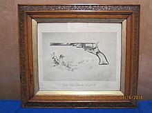17 X 16 ORNATE SOLID OAK FRAME WITH COLT TEXAS PATERSON 40 CALIBER 1836