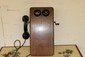 OAK CRANK TELEPHONE BY LEICH - WORKS - RINGS FINE - MISSING NOTE SHELF