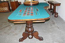 ROULETTE TABLE 1880 VINTAGE TABLE - MINT - HAS NEW FELT TOP & WHEEL - WORKS PERFECT - GREAT PIECE