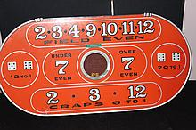 VINTAGE TABLETOP OVER/UNDER CRAPS - MINOR DAMAGE UNDER GLASS - EASY FIX BY MONTEREY WOULD CRAFTERS CASINO EQUIPMENT 24 X 12
