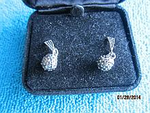 SWEET STERLING SILVER POST EARRINGS FEATURING MARCASITE POST AND BALL DESIGN