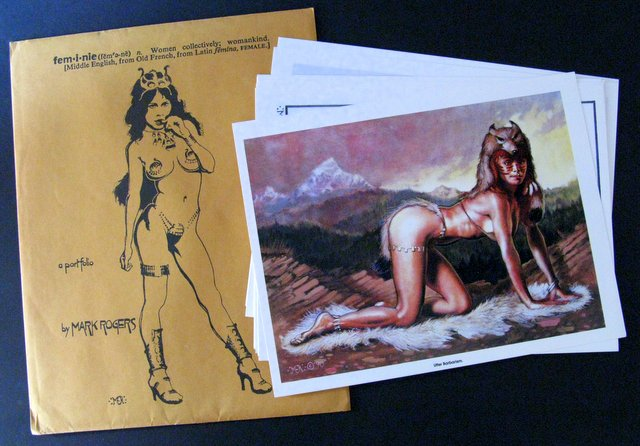 "MARK ROGERS' PORTFOLIO - ALL WOMANKIND ART PORTFOLIO - 1989 - Nine dazzling art prints of Mark Rogers' beautiful and alluring women. Each full-color print measures 12"" x 9"" Envelope: Excellent, Prints: Mint."