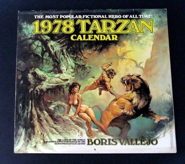 TARZAN - BORIS VALLEJO ART CALENDAR 1978 - This deluxe 13