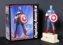 "MARVEL - CAPTAIN AMERICA - LIMITED EDITION MINI STATUE SIGNED - Bowen Designs, 2001 - Very rare mini statue by Randy Bowen. Fully painted, solid resin, stands 7 ½"" tall. Cap's full-color box is also signed by Bowen. Mint in box."