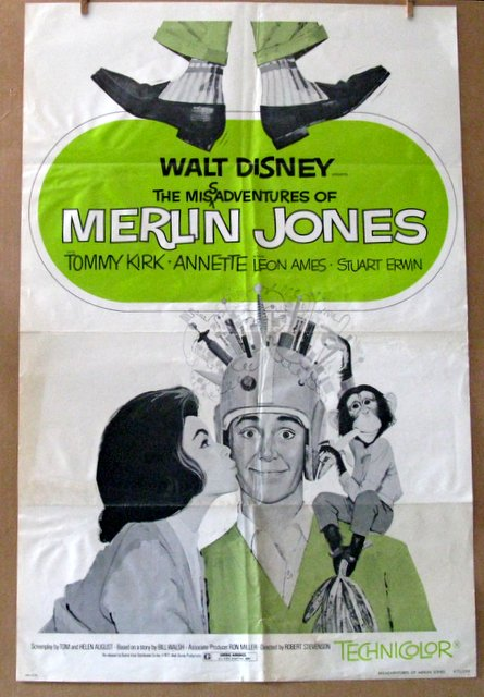 DISNEY'S THE MISADVENTURES OF MERLIN JONES - Re-release 1972 - One Sheet Movie Poster - 27