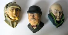 SHERLOCK HOLMES - LIMITED EDITION WALL HANGING BUST SET - HOMES, DR. WATSON, & PROFESSOR MORIARTY - Bossons Congleton, England, 1984 – Rare hand-painted polystone busts of the three famous masterminds. Each 6 1/2