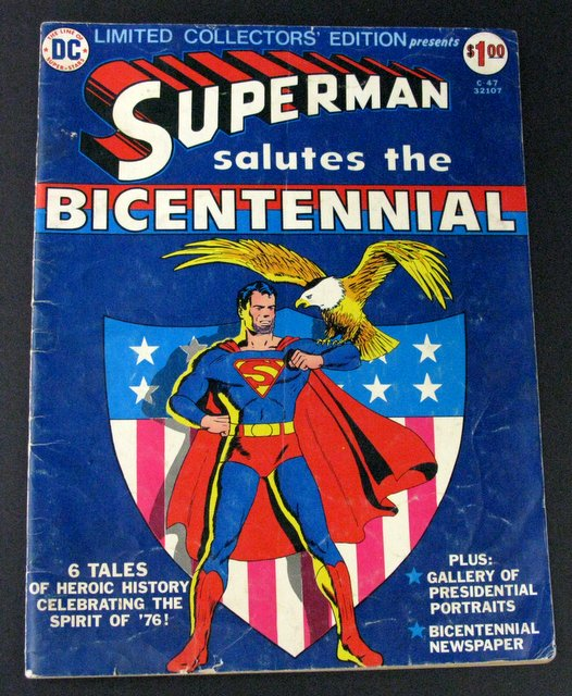 SUPERMAN SALUTES THE BICENTENNIAL - GIANT OVER SIZED COMIC BOOK - National Periodical Publications, Inc. 1976 - Vintage giant comic featuring Superman telling you history's tales. 10