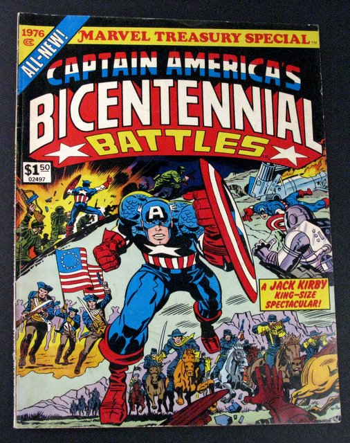 CAPTAIN AMERICA'S BICENTENNIAL BATTLES - GIANT OVER SIZED COMIC BOOK - Marvel Comics, 1976 - Vintage giant comic showing the tale of Captain America traveling through time to fight past and future battles. 10