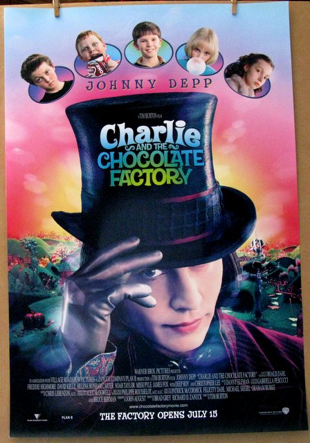 JOHNNIE DEPP, TIM BURTON - CHARLIE AND THE CHOCOLATE FACTORY - 1995 - One Sheet Movie Poster - 27